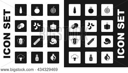 Set Watermelon, Beans, Orange Fruit, Eggplant, Bell Pepper, Tomato, Melon And Cabbage Icon. Vector