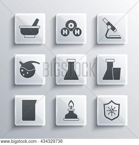 Set Alcohol Or Spirit Burner, Shield Protecting From Virus, Test Tube And Flask, Laboratory Glasswar