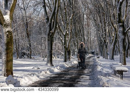 A Woman With A Baby Stroller Walks Along A Snow-covered Alley Of A City Park. Unidentified Woman Wit