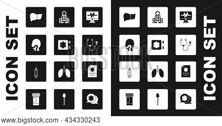Set Monitor With Cardiogram, Medical Symbol Of The Emergency, Sore Throat, Human Organ Liver, Stetho