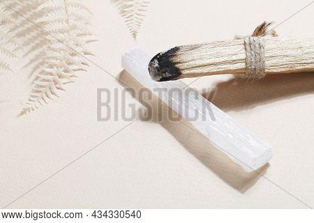 Palo Santo Stick, Selenite On Beige Background, Magic Rock For Ritual, Witchcraft, Spiritual Practic
