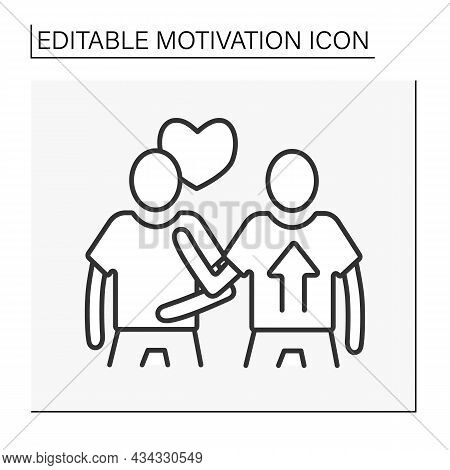 Social Motivation Line Icon. Person Motivated By Belonging And Acceptance Of Other People. Cooperati