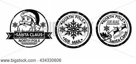 Christmas Santa Claus Stamp Vector Set, Winter North Pole Mail Postage, Holiday Vintage Letter Sign.