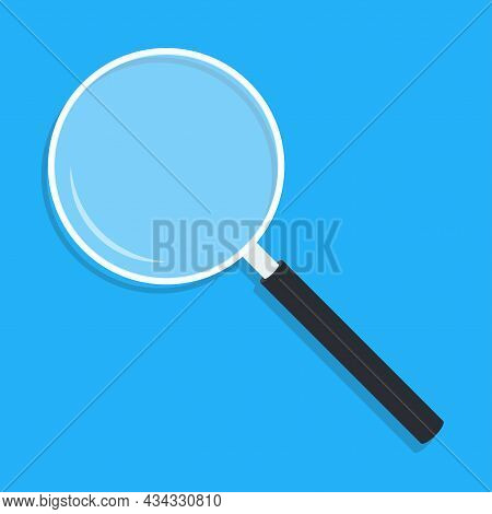 Cartoon Magnifying Glass With Shadow. Magnifier Loupe With Transparent Glass And Dark Handle. Search