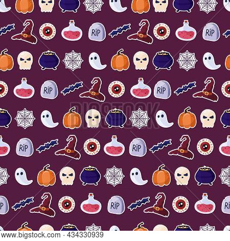 Seamless Pattern For Halloween Holiday. Halloween Seamless Pattern For Poster, Card, Banner Or Backg