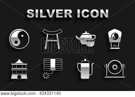Set Firework, Chinese Paper Lantern, Gong, Tea Ceremony, House, Yin Yang And Japan Gate Icon. Vector