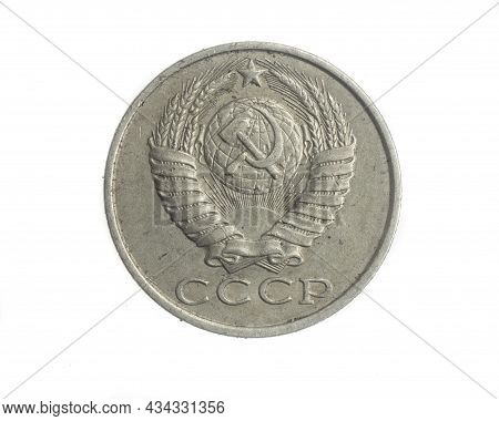 Russia Fifteen Kopeks Coin On White Isolated Background