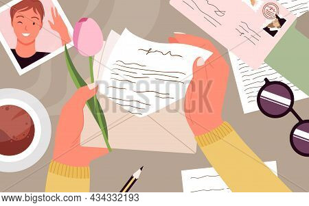 Hands Holding Envelope With Paper Letter, Desk Top View Vector Illustration. Cartoon Human Hand With