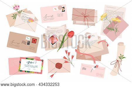 Vintage Envelope With Mail Paper Letter Set Vector Illustration. Cartoon Retro Envelopes With Postag