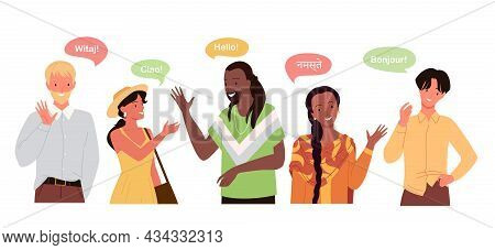 People Say Hello On Different Languages, Global International Communication Concept Vector Illustrat