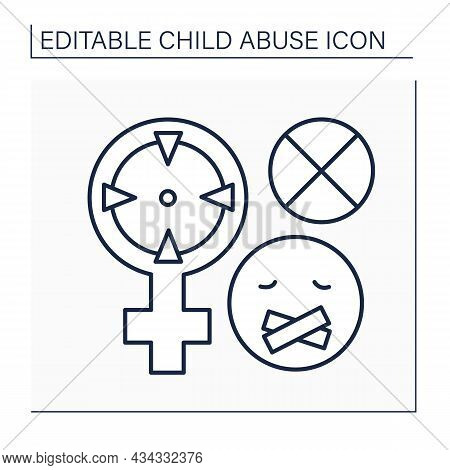 Sexual Abuse Line Icon. Prohibition To Talk About Sexual Violence. Rape. Child Abuse Concept. Isolat