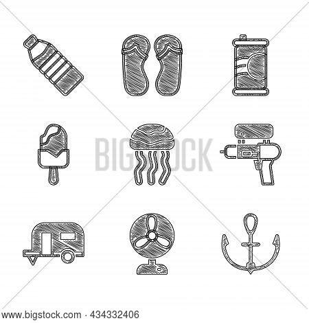 Set Jellyfish, Electric Fan, Anchor, Water Gun, Rv Camping Trailer, Ice Cream, Soda Can And Bottle O