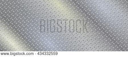 Diamond Pattern Metal Plate. Texture With Reflective Stainless Steel. Gray Iron Gradient Vector Illu