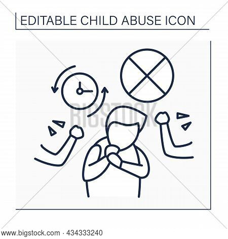 Harming Line Icon. Bullying At School From Peers. Dignity Humiliation. Child Abuse Concept. Isolated
