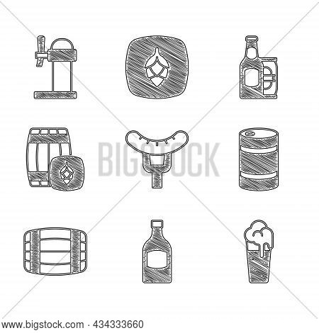 Set Sausage On The Fork, Beer Bottle, Glass Of Beer, Metal Keg, Wooden Barrel, And Can And Dispenser