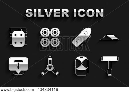 Set Skateboard Y-tool, Park, T, Baseball Cap, Knee Pads And Wheel Icon. Vector