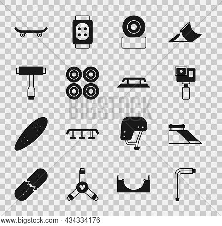 Set Tool Allen Keys, Skate Park, Action Camera, Skateboard Wheel, Tool, And Stairs With Rail Icon. V