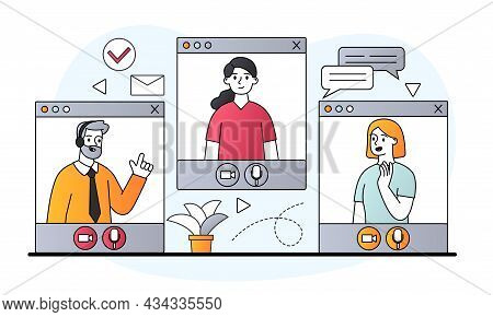 Video Conference Windows With Male And Female Characters Talking Remotely Online On White Background