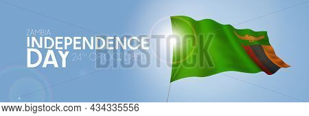 Zambia Happy Independence Day Greeting Card, Banner With Template Text Vector Illustration
