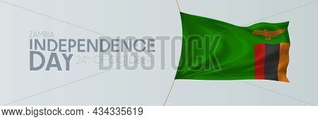 Zambia Independence Day Vector Banner, Greeting Card.