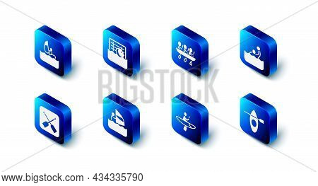 Set Water Polo, Canoe Rowing Team Sports, Kayak And Paddle, Windsurfing, Paddle And Icon. Vector