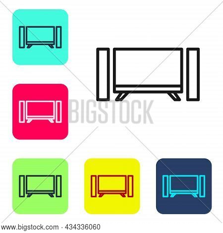 Black Line Smart Tv Icon Isolated On White Background. Television Sign. Set Icons In Color Square Bu