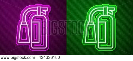 Glowing Neon Line Fire Extinguisher Icon Isolated On Purple And Green Background. Vector