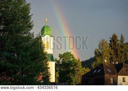 Harrachov, Czech Republic - August 22, 2020: The Kostel Sv. Vaclava Church In Harrachov, Czech Repub
