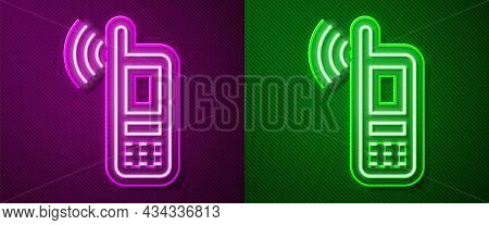 Glowing Neon Line Smartphone With Free Wi-fi Wireless Connection Icon Isolated On Purple And Green B