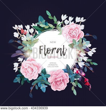 Vector Round Botanical Frame With Pale Pink Roses, Green Leaves And Plants. Romantic Floral Design O