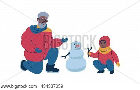 Grandparent Making A Snowman Together With Child During Winter Time. Isolated Vector Illustration.