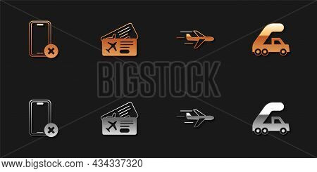 Set No Cell Phone, Airline Ticket, Plane And Passenger Ladder For Plane Boarding Icon. Vector