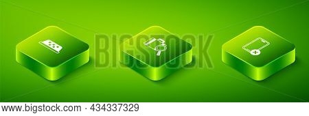 Set Isometric Lost Baggage, No Cell Phone And Taxi Car Roof Icon. Vector