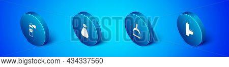 Set Isometric Air Freshener Spray Bottle, Dustpan, Toilet Bowl And Garbage Bag Icon. Vector