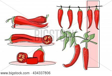 Set Of Chili Pepper Hanging And Cut As A Food Ingredient On White Background. Red Pepper On A Branch