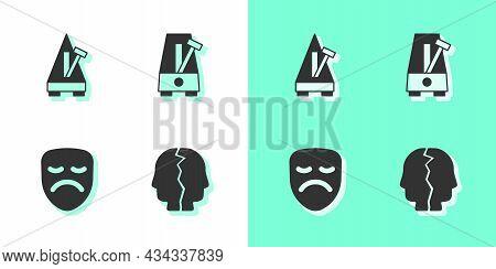 Set Bipolar Disorder, Metronome With Pendulum, Drama Theatrical Mask And Icon. Vector