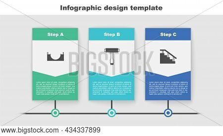 Set Skate Park, Skateboard T Tool And Stairs With Rail. Business Infographic Template. Vector
