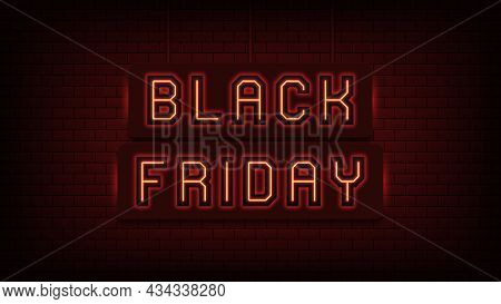 Neon Black Friday Sale, Red Light. Glowing Neon Text Of Black Friday For Social Media Post And Onlin