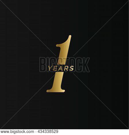 Anniversary Company Logo, 1 Year, One Gold Number, Wedding Anniversary, Memorial Date Symbol Set, Go