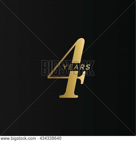 Anniversary Company Logo, 4 Year, Four Gold Number, Wedding Anniversary, Memorial Date Symbol Set, G