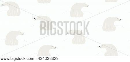 Cute Polar Bears, Snowdrifts, Winter Seamless Pattern On White Background. Hand Drawn Vector Illustr