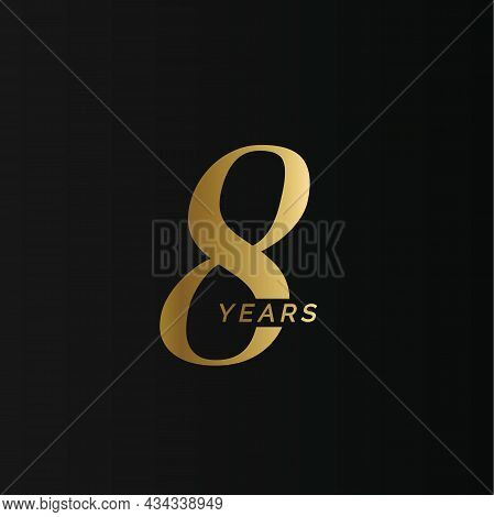 Anniversary Company Logo, 8 Years, Eight Gold Number, Wedding Anniversary, Memorial Date Symbol Set,