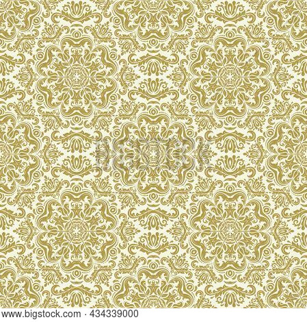 Classic Seamless Vector Pattern. Damask Orient Ornament. Classic Vintage Background. Golden Orient O