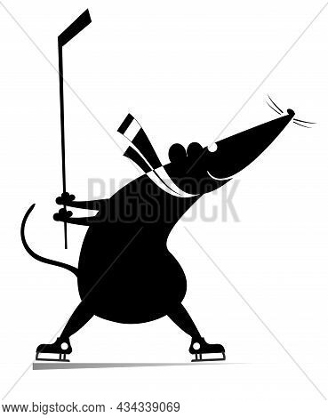 Cartoon Rat Or Mouse An Ice Hockey Player Illustration. Cartoon Rat Or Mouse Plays Ice Hockey Origin