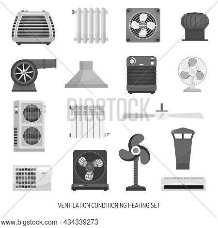 Monochrome Ventilation Conditioning And Heating Equipment Set Isolated On White Background Flat Vect