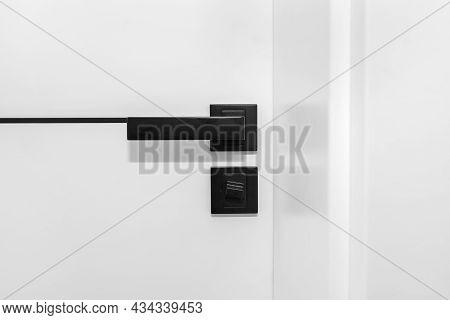 Modern White Door With Matte Black Handle And Magnetic Locks, Bathroom Door Lock.