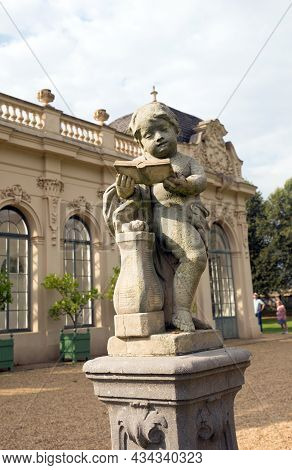 Wrest Park, Silsoe, Bedfordshire 2021. This Cherub Sits Out Side The Orangery Nd Has Been Designated