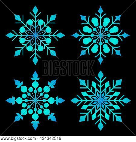 A Set Of Snowflakes For A Festive Winter Decor. Christmas Decorations For Creating Your Advertisemen