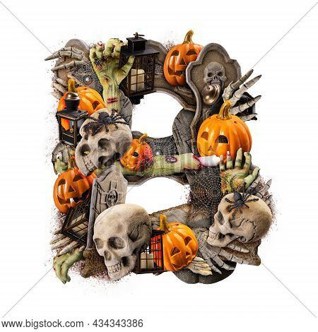 Letter B Made Of Variety Halloween Objects Isolated On White Background