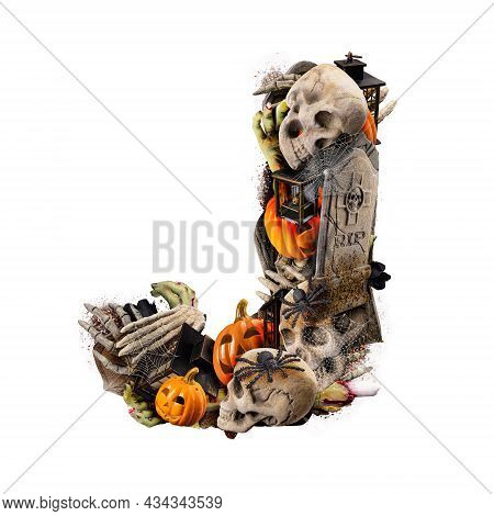 Letter J Made Of Variety Halloween Objects Isolated On White Background